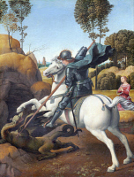 0020149 © Granger - Historical Picture ArchiveSAINT GEORGE & THE DRAGON.   Oil on wood, 1504-06, by Raphael.