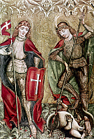 0021785 © Granger - Historical Picture ArchiveST. FLORIAN & ST. GEORGE.   Wing of a triptych by Monogramist