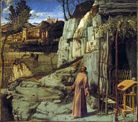 0027467 © Granger - Historical Picture ArchiveSAINT FRANCIS OF ASSISI   (1182-1226). 'Saint Francis In Ecstasy.' Oil on panel, c1480, by Giovanni Bellini.