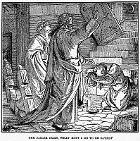 0033794 © Granger - Historical Picture ArchiveST. PAUL & HIS JAILER.   After the earthquake at Philippi, Saint Paul's jailer falls before Paul and Silas, asking, 'What must I do to be saved?' (Acts 16:30). Wood engraving, American, 1884.