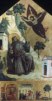 0034908 © Granger - Historical Picture ArchiveST. FRANCIS OF ASSISI   (1182-1226). Italian friar and preacher. 'St. Francis receiving the stigmata.' Tempera on panel, c1300, by Giotto.