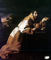 0034909 © Granger - Historical Picture ArchiveST. FRANCIS OF ASSISI   (1182-1226). Italian friar and preacher. 'St. Francis in Meditation.' Oil on canvas, 1639, by Francisco de Zurbaran.