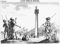 0035720 © Granger - Historical Picture ArchiveST. SIMEON STYLITES   (390-459). Syrian ascetic. Etching, French, early 19th century.