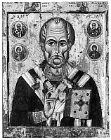 0038609 © Granger - Historical Picture ArchiveSAINT NICHOLAS.   Fourth century Bishop of Myra. A 12th century Russian icon of the Novgorod School in the Holy Ghost Monastery Novgorod.