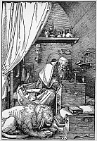 0045326 © Granger - Historical Picture ArchiveSAINT JEROME (340-420).   Church scholar and translator. Saint Jerome in his study. Woodcut, 1511, by Albrecht Durer.