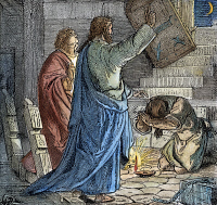 0057519 © Granger - Historical Picture ArchiveST. PAUL AND SILAS.   After the earthquake at Philippi, the jailer cries, 'What must I do to be saved?' to St. Paul and Silas (Acts 16:30). Wood engraving, American, 1884.