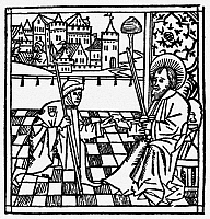 0057523 © Granger - Historical Picture ArchiveST. PAUL AND MESSENGER.   Saint Paul handing an epistle to a messenger. Woodcut from the Cologne Bible, 1478-80.
