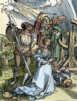 0065201 © Granger - Historical Picture ArchiveST. CATHERINE OF ALEXANDRIA   (early 4th century A.D.). The martyrdom of Saint Catherine. Woodcut, c1530, by Hans Sebald Beham.