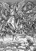 0070006 © Granger - Historical Picture ArchiveDURER: SAINT MICHAEL, 1498.   Evicting Lucifer and the fallen angels from Heaven. Woodcut, 1498, by Albrecht Durer.