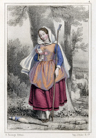 0077122 © Granger - Historical Picture ArchiveSAINT GENEVIEVE (c422-c500).   Patron saint of Paris. Lithograph, French, 19th century.