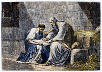 0097798 © Granger - Historical Picture ArchiveSAINT PAUL IN PRISON.   Saint Paul writing his epistle to the Ephesians while in prison (Ephesians 3:1-6). Wood engraving, 19th century, after Henri Félix Emmanuel Philippoteaux.