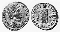 0110712 © Granger - Historical Picture ArchiveSAINT HELENA.   Consort of Emperor Constantinius and mother of Emperor Constantine I. Bronze coin, Roman, 3rd or 4th century A.D.