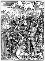 0122855 © Granger - Historical Picture ArchiveST. CATHERINE OF ALEXANDRIA   (early 4th century A.D.). The martyrdom of Saint Catherine. Woodcut by Albrecht Dürer, c1498.