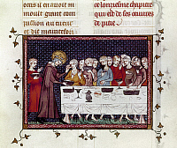0129733 © Granger - Historical Picture ArchiveLOUIS IX (1214-1270).   Saint Louis. King of France, 1226-1270. Louis IX at the founding ceremony of the Royaumont monastery. Manuscript illumination from 'Life and Miracles of Saint Louis,' published in Paris, 1330-40.