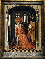0129777 © Granger - Historical Picture ArchiveSAINT JEROME (340-420).   Church scholar and translator. Saint Jerome in His Study. Painting by Stefan Lochner, c1440.