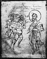 0130045 © Granger - Historical Picture ArchiveSAINT PAUL (d. 67 A.D.).   Apostle to the Gentiles. The mocking of Paul. Drawing from a codex, early 10th century.