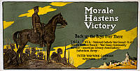0162799 © Granger - Historical Picture ArchiveWORLD WAR I: POSTER, c1918.   'Morale Hastens Victory.' Poster for the United War Work Campaign and other charities asking for donations during the Christmas season to send to troops during World War I, c1918.