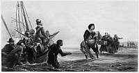 0045067 © Granger - Historical Picture ArchiveRELIGIOUS FUGITIVES.   Fugitives for conscience sake (Huguenots or Walloons) leaving the Flemish coast for America, early 17th century. Steel engraving, English, 1880, after a painting by Charles Joseph Staniland.