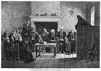 0078692 © Granger - Historical Picture ArchiveHUGUENOT ASSEMBLY, 1685.   'A Protestant Pastor Addressing a Secret Assembly of Huguenots.'  Engraving, 19th century.