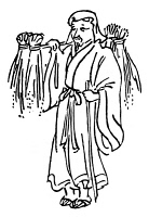 0099354 © Granger - Historical Picture ArchiveSHINTO DEITY: INARI.   Inari, the rice bearer, the Japanese Shinto deity of agriculture and fertility. Line drawing.