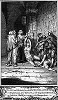 0005173 © Granger - Historical Picture ArchiveSPANISH INQUISITION.   The torture of a Protestant heretic in a Spanish prison during the Inquisition. Copper engraving, from a late 18th century English edition of John Foxe's 'Book of Martyrs.'
