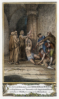 0057129 © Granger - Historical Picture ArchiveFOXE: SPANISH INQUISITION.   The torture of a Protestant heretic in a Spanish prison during the Inquisition. Copper engraving from a late 18th century English edition of John Foxe's 'The Book of Martyrs.'