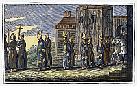 0104153 © Granger - Historical Picture ArchiveSPANISH INQUISITION.   A procession of those condemned by the Inquisition in Spain. Wood engraving from an 1832 American edition of John Foxe's 'Book of Martyrs.'