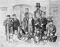 0030535 © Granger - Historical Picture ArchiveSUNDAY SCHOOL, 1875.   'Will it pay?' Dr. Dwight Lyman Moody and John V. Farwell's first Sunday school class in North Market Hall, Chicago, Illinois. Lithograph, 1875.