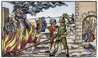 0009600 © Granger - Historical Picture ArchiveWITCH BURNING, 1555.   Detail of a German broadside of the public burning of three witches at Derneburg, Germany, in October 1555.