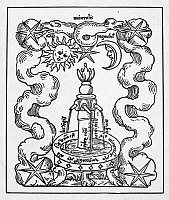 0004948 © Granger - Historical Picture ArchiveFOUNTAIN OF LIFE, 1550.   Fons Mercuralis - the Fountain of Life. Woodcut from 'Rosarium Philosophorum,' Frankfurt, Germany, 1550.