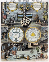 0027508 © Granger - Historical Picture ArchiveCABALA, 1658.   Page from 'Cabala, Speculus Artis,' published in 1658 at Augsburg, depicting the four elements at center right and two alchemists in their laboratory.