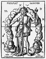 0104726 © Granger - Historical Picture ArchiveFOUR HUMORS.   An alchemical representation of the four humors in relation to the four elements and their zodiacal signs. Woodcut from Leonhard Thurneysser's 'Quinta Essentia,' Leipzig, 1574.