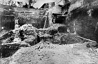 0130208 © Granger - Historical Picture ArchiveROME: EXCAVATION, 1885.   A view of an excavation site on the Quirinal Hill in Rome, Italy, at which a bronze sculpture of the 1st century B.C., known as the Boxer of Quirinal (seen at right), was discovered. Photographed in 1885.