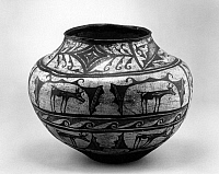 0259070 © Granger - Historical Picture ArchiveACOMA POTTERY.   Painted pot from the Acoma Pueblo in New Mexico. Photographed at the Colter Bay Museum at Grand Teton National Park in Wyoming. Photograph by Fred Mang, Jr., c1965.