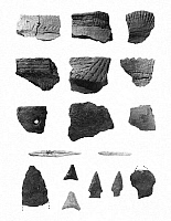 0259167 © Granger - Historical Picture ArchiveNATIVE AMERICAN ARTIFACTS.   Fragments of pottery, projectile points and tools made from bird bones, discovered from an archaeological site in Pelham Bay Park, New York.