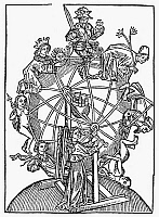 0104728 © Granger - Historical Picture ArchiveWHEEL OF FORTUNE.   An astrological representation of the Wheel of Fortune, depicting Mars in the highest position, but with the sun, Venus, and Mercury on the rise. German woodcut, 1490.