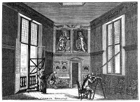 0003758 © Granger - Historical Picture ArchiveJOHN FLAMSTEED, c1700.   Royal astronomer John Flamsteed, his one paid assistant, and friend, Marsh, in the old observing room at the Greenwich Observatory, England. English color engraving, c1700.