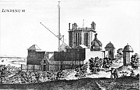0017641 © Granger - Historical Picture ArchiveGREENWICH OBSERVATORY.  Flamsteed House, Old Royal Observatory, Greenwich, England, seen from the southeast. Etching, c. 1675, by Francis Place.