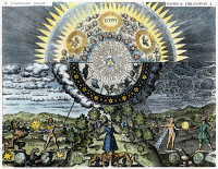 0027503 © Granger - Historical Picture ArchiveEARTH/UNIVERSE ALLEGORY.   An allegorical representation of the microcosm, or Earth, and the macrocosm, or the universe: German engraving, 1618.