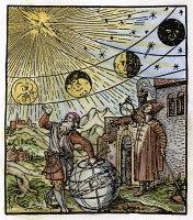 0050804 © Granger - Historical Picture ArchivePHASES OF THE MOON.   Woodcut designed by Hans Holbein the Younger from Sebastian Munster's 'Canones super novum instrumentum luminarium,' Basel, 1534.