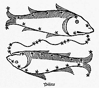 0052130 © Granger - Historical Picture ArchiveZODIAC: PISCES, 1482.   Pisces, the fishes. Zodiacal woodcut from Gaius Julius Hyginus' 'Poeticon Astronomicon,' Venice, Italy, 1482.
