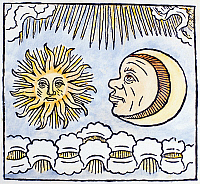 0105659 © Granger - Historical Picture ArchiveSUN AND MOON, 1480.   Decorative faces of the sun and the moon discussing the powers of the firmament. Woodcut, Dutch, 1480.
