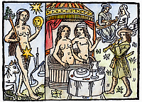 0105903 © Granger - Historical Picture ArchiveALLEGORY OF VENUS, 1496.   Personification of Venus, planet of love, gaiety and music. Woodcut from Nicolas Le Rouge's 'Le grant kalendrier et compost des bergieres,' Troyes, France, 1496.