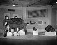 0174235 © Granger - Historical Picture ArchiveAHNIGHITO METEORITE, c1940.   Astronomer Dr. Clyde Fisher and three children standing next to the Ahnighito meteorite in the Hayden Planetarium at the American Museum of Natural History in New York City, New York. Photograph, c1940.