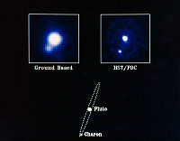 0184024 © Granger - Historical Picture ArchivePLUTO, 1990.   Left: Ground-based photograph of Pluto and its moon, Charon, taken by the Canada-France-Hawaii telescope in Hawaii. Right: Photo taken by the Hubble Space Telescope's Faint Object Camera. The diagram at bottom shows Charon's orbit around Pluto. Photographs, 1990.