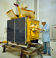 0184224 © Granger - Historical Picture ArchiveSATELLITE: SATCOM III-R.   The SATCOM III-R communication satellite, developed by RCA, is readied at Kennedy Space Center before its launch in November 1981.
