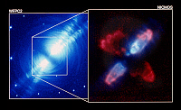 0185923 © Granger - Historical Picture ArchiveSPACE: EGG NEBULA.   The Egg Nebula (CRL 2688) in the constellation Cygnus, with detail at right showing the center of the nebula in infrared light. False-color images taken by (left) the Wide Field and Planetary Camera 2 of NASA's Hubble Space Telescope, January 1996, and Hubble's Near Infrared Camera and Multi-Object Spectrometer (NICMOS), April 1997.