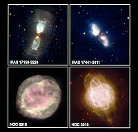 0185934 © Granger - Historical Picture ArchiveSPACE: NEBULAE, c1997.   Top: The bipolar protoplanetary nebulae IRAS 17150-3224, or the Cotton Candy Nebula (left), and IRAS 17441-2441, or the Silkworm Nebula. Bottom: The planetary neublae NGC 6818 (left) and NGC 3918. Photographed by NASA's Hubble Space Telescope, c1997.