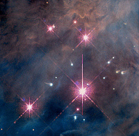 0186273 © Granger - Historical Picture ArchiveSPACE: TRAPEZIUM CLUSTER.   A view of the four massive stars of the Trapezium Cluster, with a number of evaporating protoplanetary disks, in the center of the Orion Nebula (M42) in the constellation Orion, about 1,500 light years from Earth. False-color mosaic of photographs taken by NASA's Hubble Space Telescope, 1997.