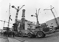 0326410 © Granger - Historical Picture ArchiveCHERNOBYL, 1982.   Construction of reactor 4 at Chernobyl Nuclear Power Plant, Ukraine, 1982. Full credit: ITAR-TASS Photo Agency / Granger, NYC -- All rights reserved.